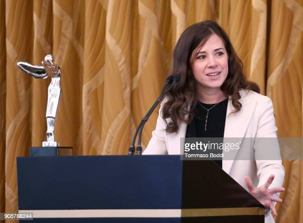 Dolby Chief Scientist Dr Poppy Crum speaks onstage at the Advanced Imaging Society awards luncheon celebrating the 10 honorees of the 2018 Technology...