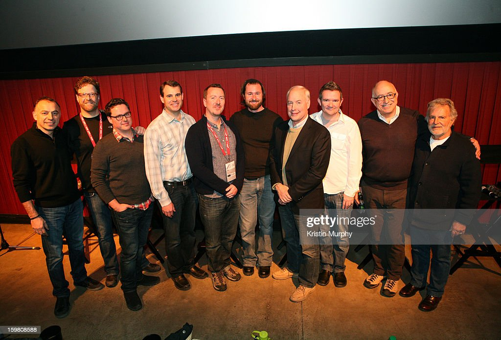 Dolby Executive Vice President, Sales and Marketing, Ramzi Haidamus, Executive in Charge of Skywalker Sound Phil Benson, sound editors Will Files, Erik Aadahl and Ben Burtt, Sr Worldwide Technical Marketing Manager at Dolby Laboratories Stuart Bowling, sound editor Randy Thom and producer Sid Ganis pose onstage during the Dolby Laboratories Presentation at Holiday Village Cinema VI during the 2013 Sundance Film Festival on January 20, 2013 in Park City, Utah.