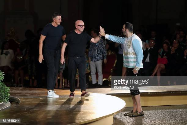 Dolce and Gabbana in the last moment of their show in Monreale, Sicily, southern Italy.