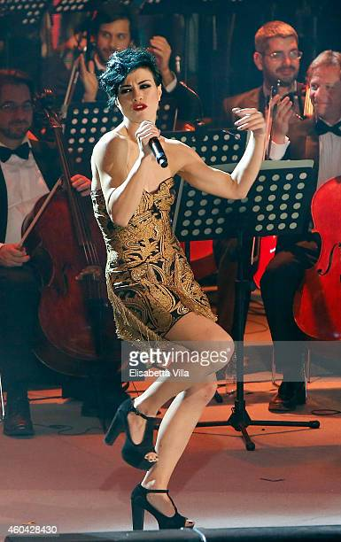 Dolcenera performs on stage during the Christmas Concert 2014 at Auditorium Conciliazione on December 13 2014 in Rome Italy