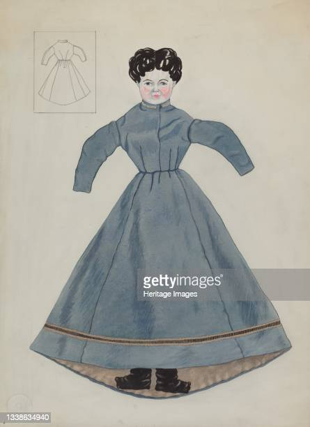 Doll and Dress, circa 1937. Artist Mary E Humes.