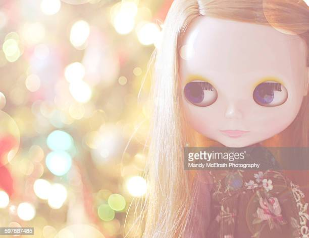doll at christmas - kawaii foto e immagini stock