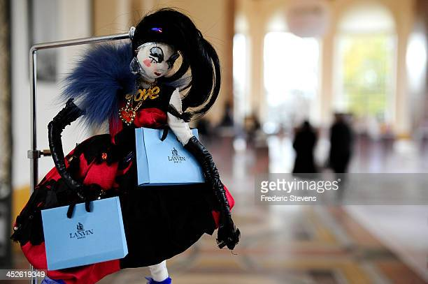 A doll created by Alber Elbaz for Lanvin is displayed at the 'Frimousses de Createurs' exhibition launch and auction for UNICEF at Le Petit Palais on...