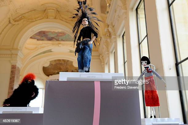 A doll created by Louis Vuitton is displayed at the 'Frimousses de Createurs' exhibition launch and auction for UNICEF at Le Petit Palais on November...