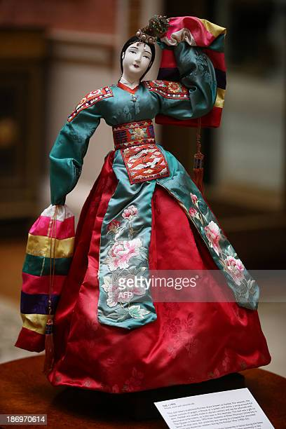 A doll gifted to Queen Elizabeth II in 1953 from Ehwa Womans University in Seoul Korea is on display before being shown to The President of the...