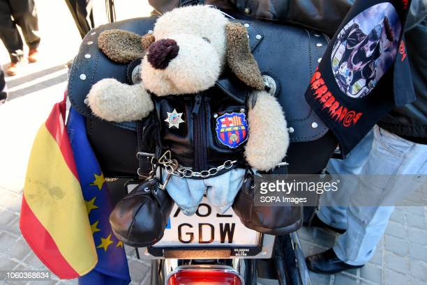 L´HOSPITALET BARCELONA SPAIN A doll is seen on the back of a bike during the display Motorcycle displays in L'Hospitalet where motorcycles of...
