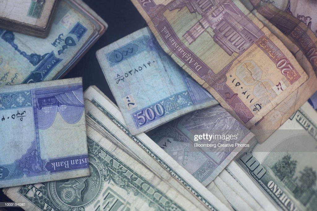 U S Dollar And Afghan Afghani Banknotes Stock Photo
