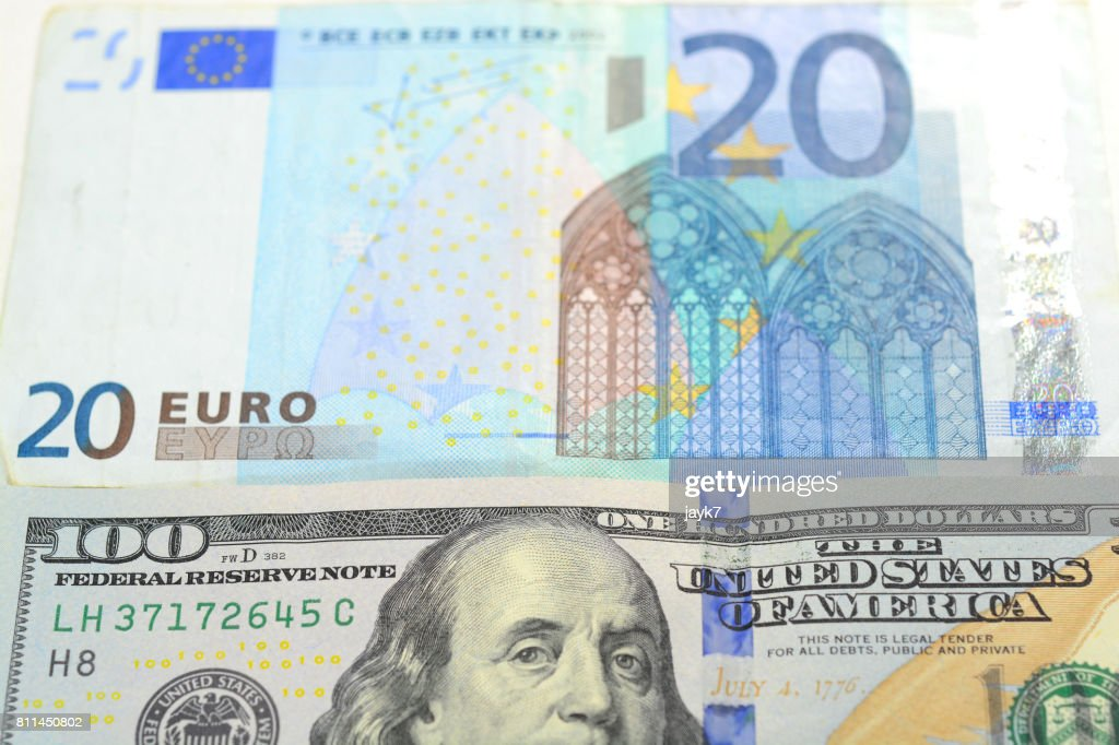 Us Dollar And Euro Currency Stock Photo