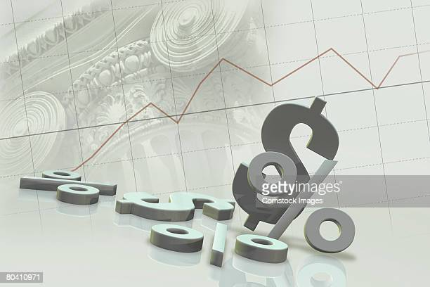 Dollar and percent signs with line graph