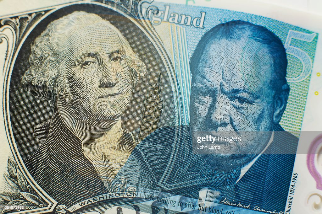 Dollar and Sterling close-up : Stock Photo