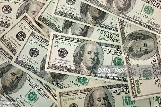 100 dollar bank notes filling screen