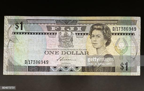 1 dollar banknote 19801989 obverse depicting Elizabeth II Fiji 20th century
