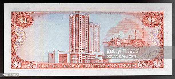 1 dollar banknote 19801989 reverse Central Bank building in Port of Spain and Point Lisas Industrial Estate Trinidad and Tobago 20th century
