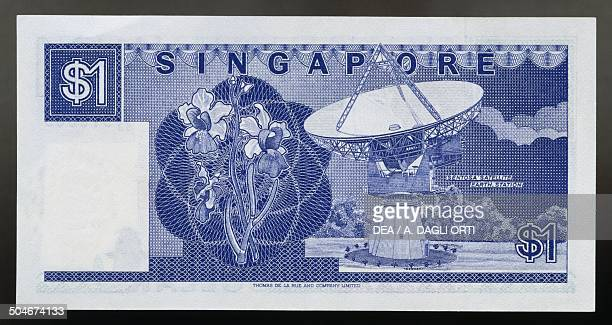 Dollar banknote, 1980-1989, reverse, radio telescope. Singapore, 20th century.