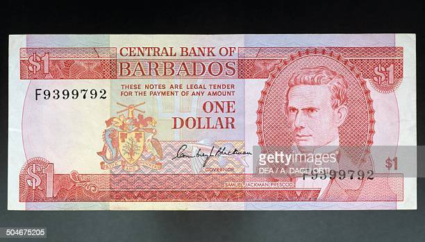 1 dollar banknote obverse Samuel Jackman Prescod Barbados 20th century