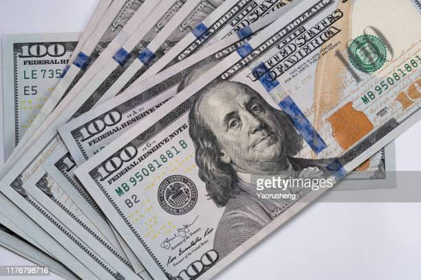 100 dollar (usd) banknotes background - american one hundred dollar bill stock pictures, royalty-free photos & images