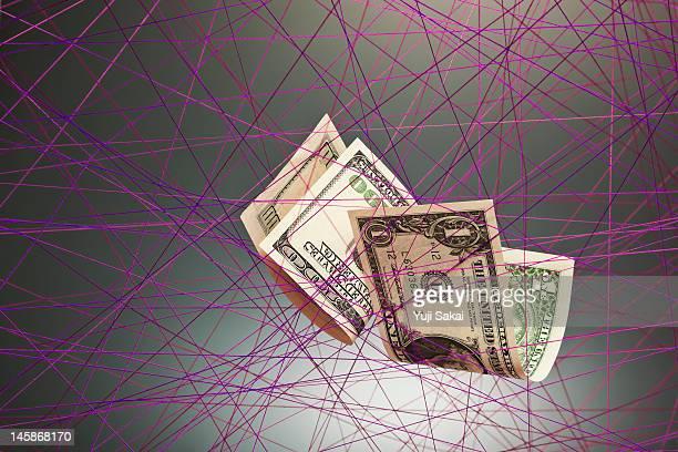 US dollar banknotes on  strings net