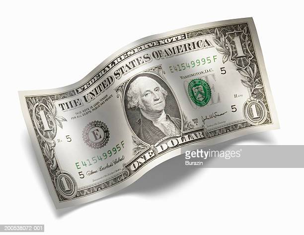 US 1 dollar bill, against white background, close-up