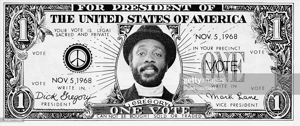 Dollar Bill Campaign By Dick Gregory : News Photo