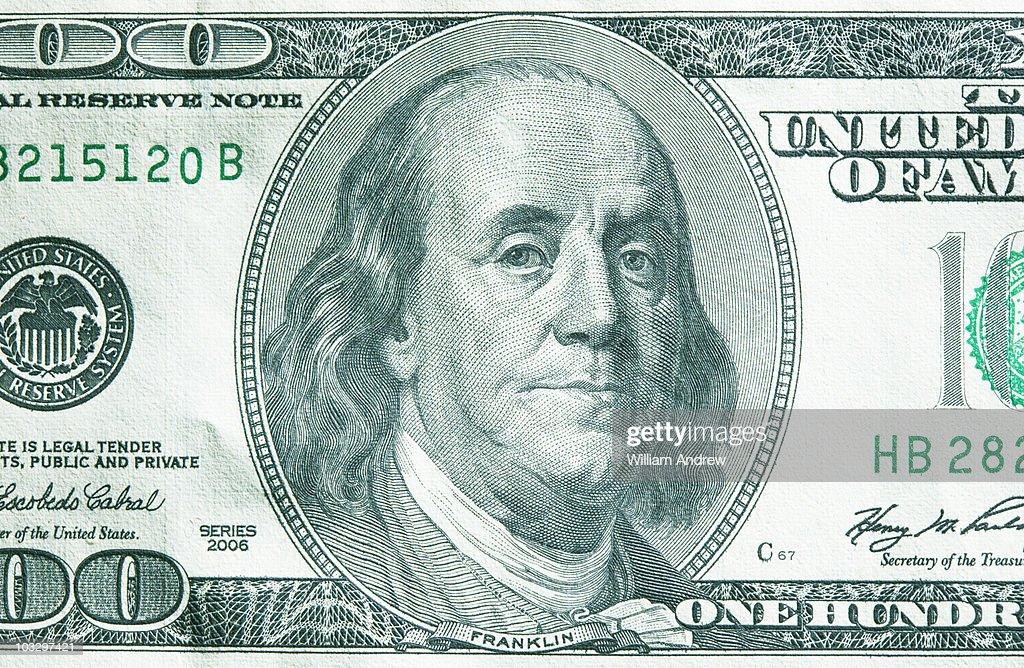 Us 100 dollar bill closeup stock photo getty images us 100 dollar bill close up stock photo voltagebd Choice Image