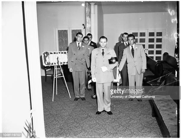 Dollar Bill funeral , 5 October 1951. Lieutenant Malcolm A Stewart ;Mrs Evelyn Stewart;Major M.A Lanning ;Mrs Gladys Alcala;Mrs Flora Stewart ;Hubert...