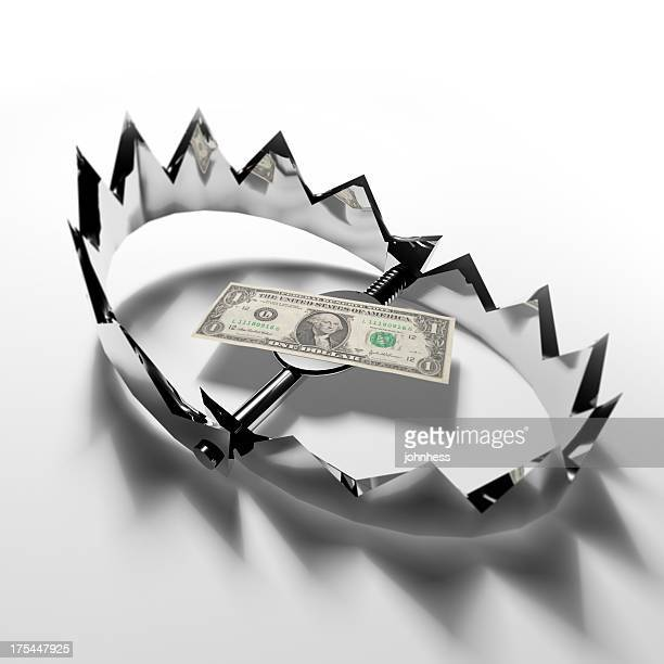 Dollar-Schein in Bear Trap