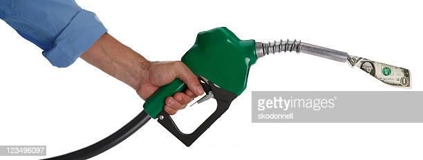 dollar bill in a gas nozzle XXL