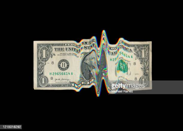 us dollar bill with glitch effect - us currency stock pictures, royalty-free photos & images