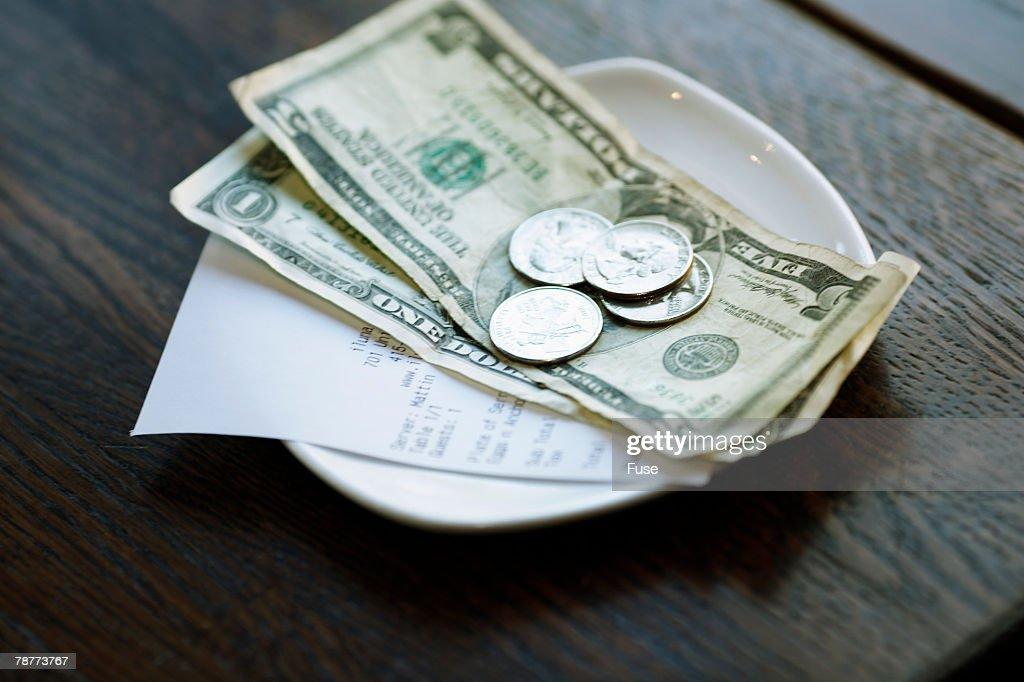 Dollar Bills and Receipt : Stock Photo