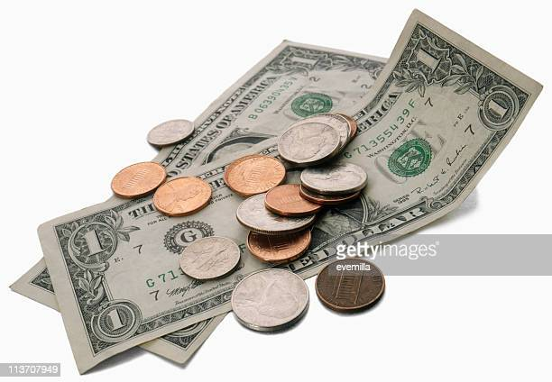 dollar bills cut out on white - american one dollar bill stock pictures, royalty-free photos & images