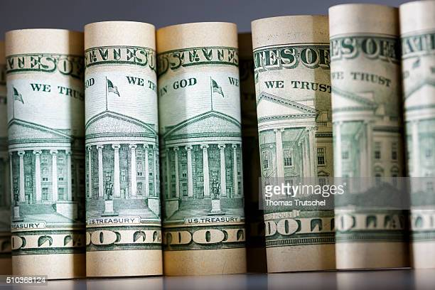 Dollar bills standing on a table on February 15 in Berlin Germany