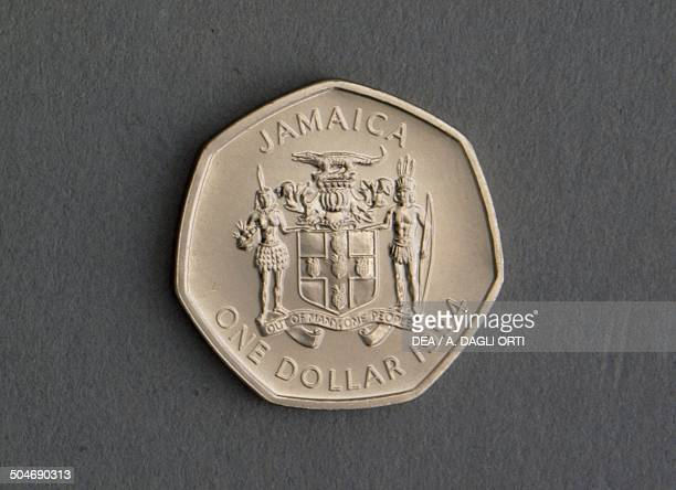 1 dollar coin obverse coat of arms Jamaica 20th century