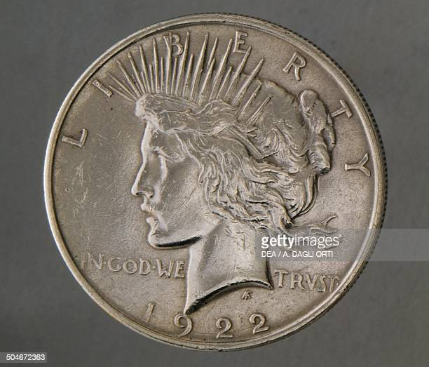 1 dollar coin obverse female face symbol of Liberty United States of America 19th century