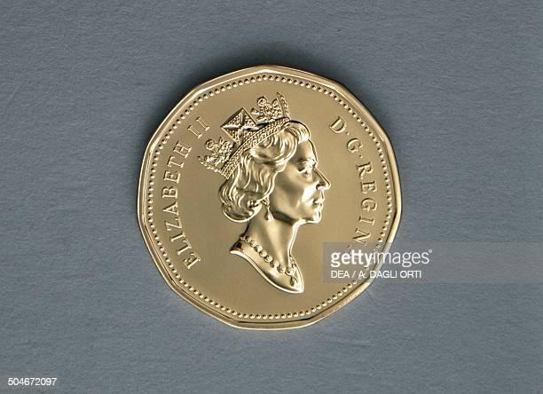 1 dollar coin obverse queen Elizabeth II Canada 20th century