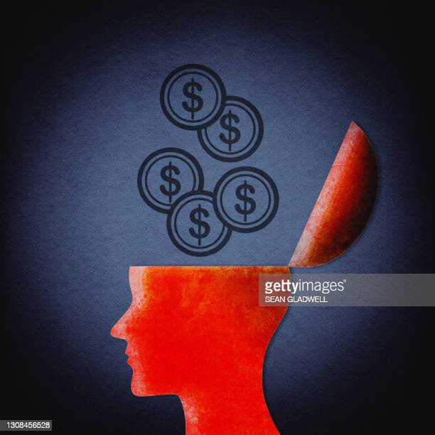 dollar coins open head illustration - us coin stock pictures, royalty-free photos & images