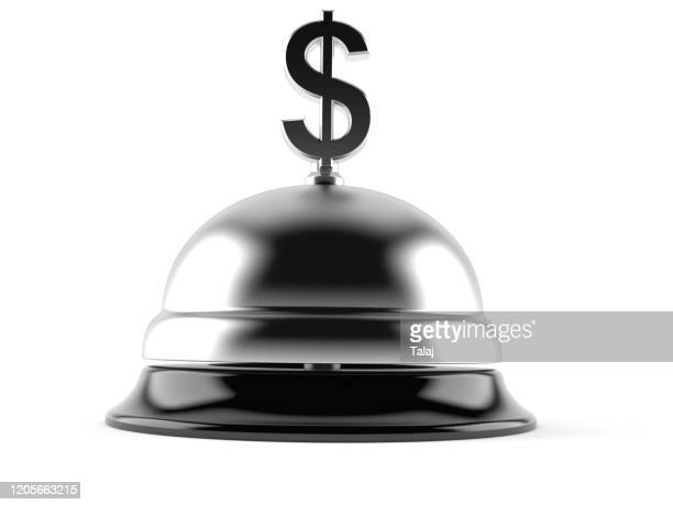 dollar currency with hotel bell isolated