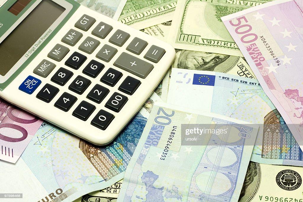 Dollar Euro Banknotes Calculator Stock Photo