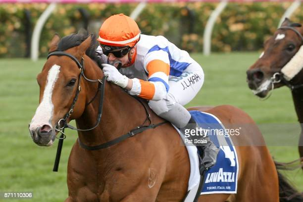 Dollar for Dollar ridden by Jamie Kah wins the Lavazza Short Black at Flemington Racecourse on November 07 2017 in Flemington Australia