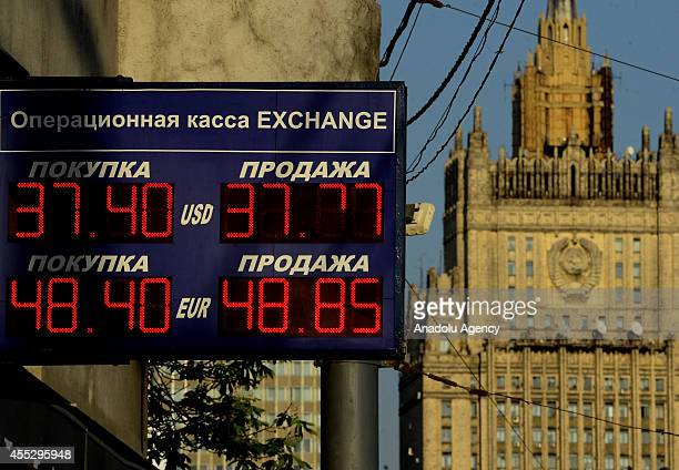 US dollar has renewed its record against Russian ruble in Moscow Russia on September 11 2014 Russian ruble loses its value against dollar and euro...