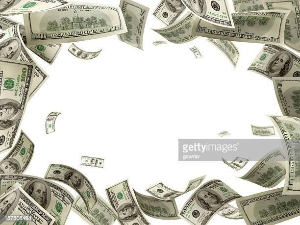 US-Dollar 100 Rechnungen fallen vom Himmel