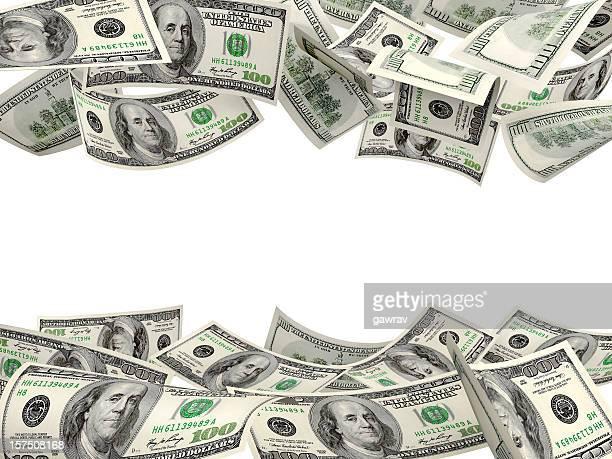 US Dollar Hundred Bills Floating In Air