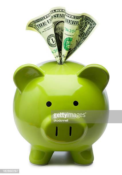dollar in a piggy bank - piggy bank stock photos and pictures