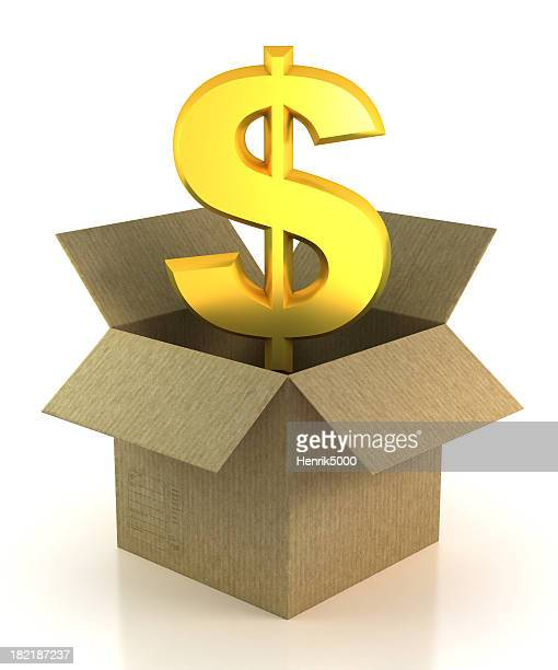 Dollar in cardboard box - isolated with Clipping Path