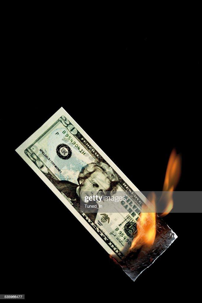 20 dollar note burning against black background : Stock Photo