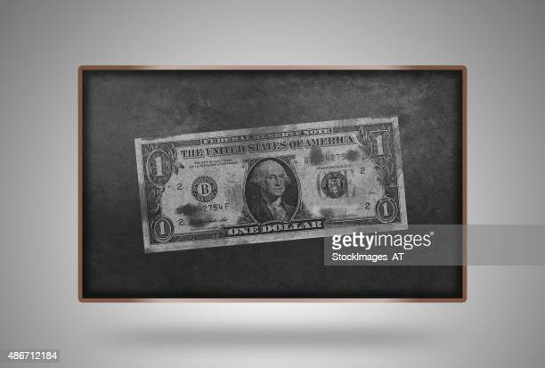 US Dollar on Floating Blackboard with Wooden Frame
