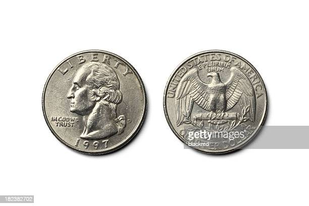 us dollar quarter coin - coin stock pictures, royalty-free photos & images