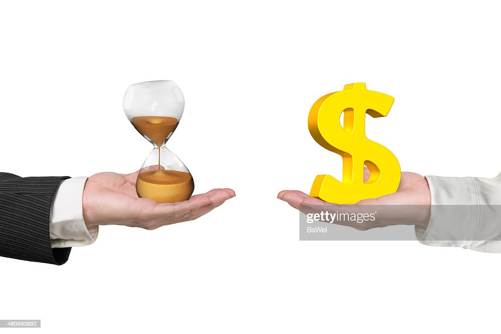 Dollar sign and hour glass with two hands : Stock Photo