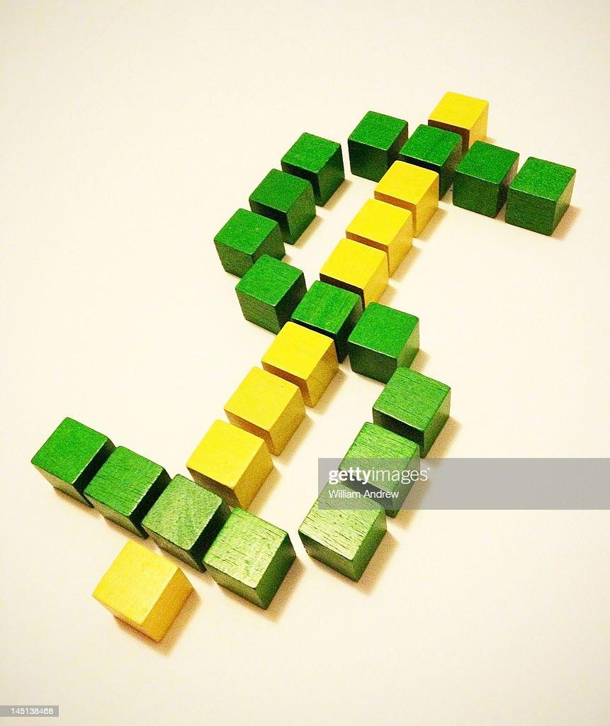 US Dollar sign made of cubes : Foto de stock