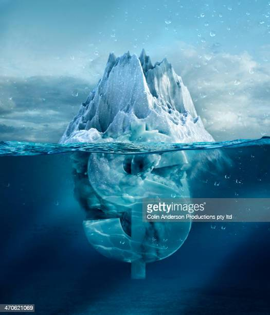 dollar sign under floating glacier - iceberg photos et images de collection