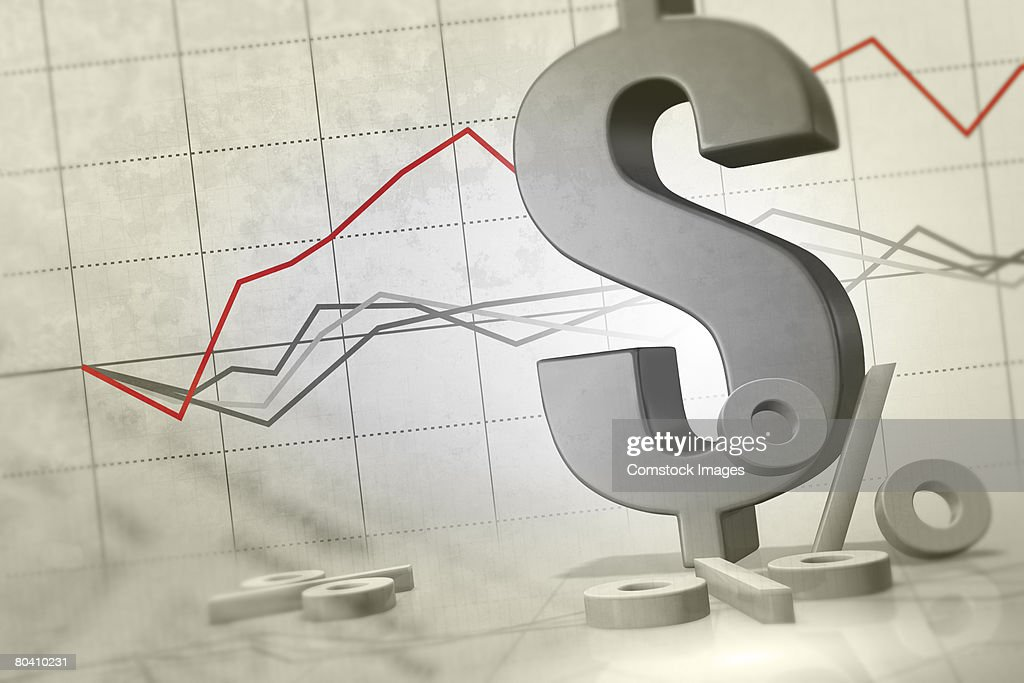 Dollar sign with line graph : Stock Photo
